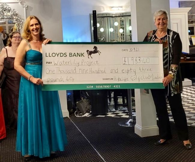 Cheque presentation to Water Lily Project at Highcliffe Castle Golf Club